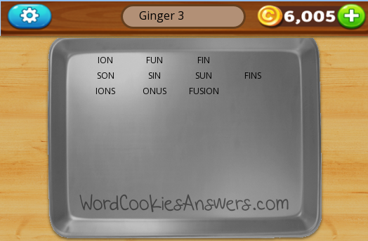 Word Cookies Cross Ginger Level 3 - Word Cookies Answers